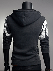 Hooded Patch Pocket Gradient Letters Men Coat