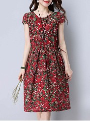 Round Neck Drawstring Floral Printed Skater Dress