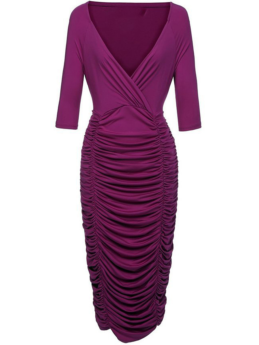 Sexy Deep V-Neck Ruched Plain Midi Bodycon Dress