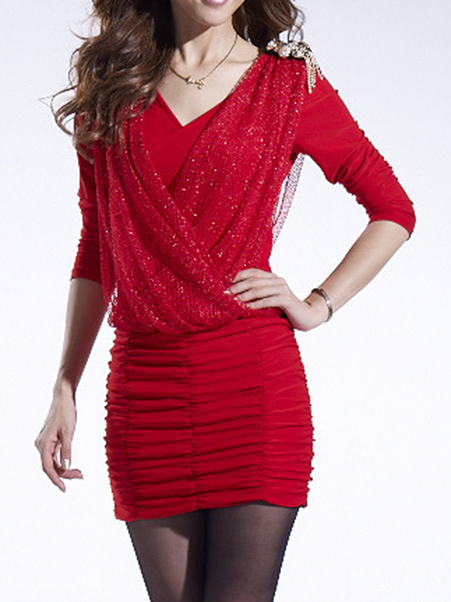 V-Neck  Plain Ruched Lone Sleeve Bodycon Dress