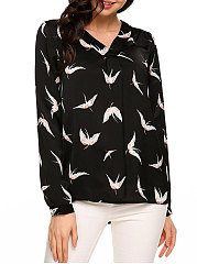 Autumn Spring  Polyester  Women  V-Neck  Animal Printed Red-Crowned Crane Long Sleeve Blouses