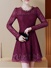 Round Neck Beading Hollow Out Plain Lace Skater Dress