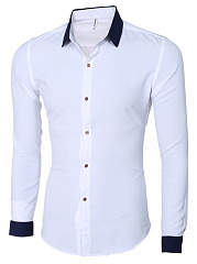 Fitted-Turn-Down-Collar-Color-Block-Men-Shirts