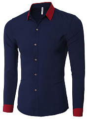 Fitted Turn Down Collar  Color Block Men Shirts
