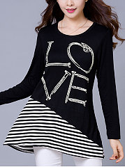 Autumn-Spring-Polyester-Women-Round-Neck-Patchwork-Letters-Striped-Long-Sleeve-T-Shirts