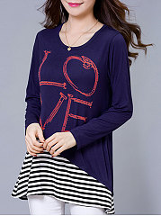 Autumn Spring  Polyester  Women  Round Neck  Patchwork  Letters Striped Long Sleeve T-Shirts