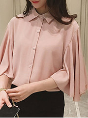 Spring Summer  Cotton  Women  Turn Down Collar  Single Breasted  Plain  Three-Quarter Sleeve Blouses