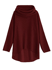 Loose Plain High-Low Hoodie