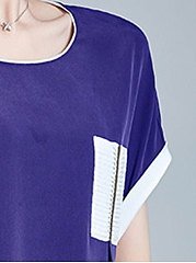 Summer  Polyester  Women  Round Neck  Contrast Piping  Plain Short Sleeve T-Shirts