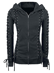Trendy Lace-Up Plain Hoodie