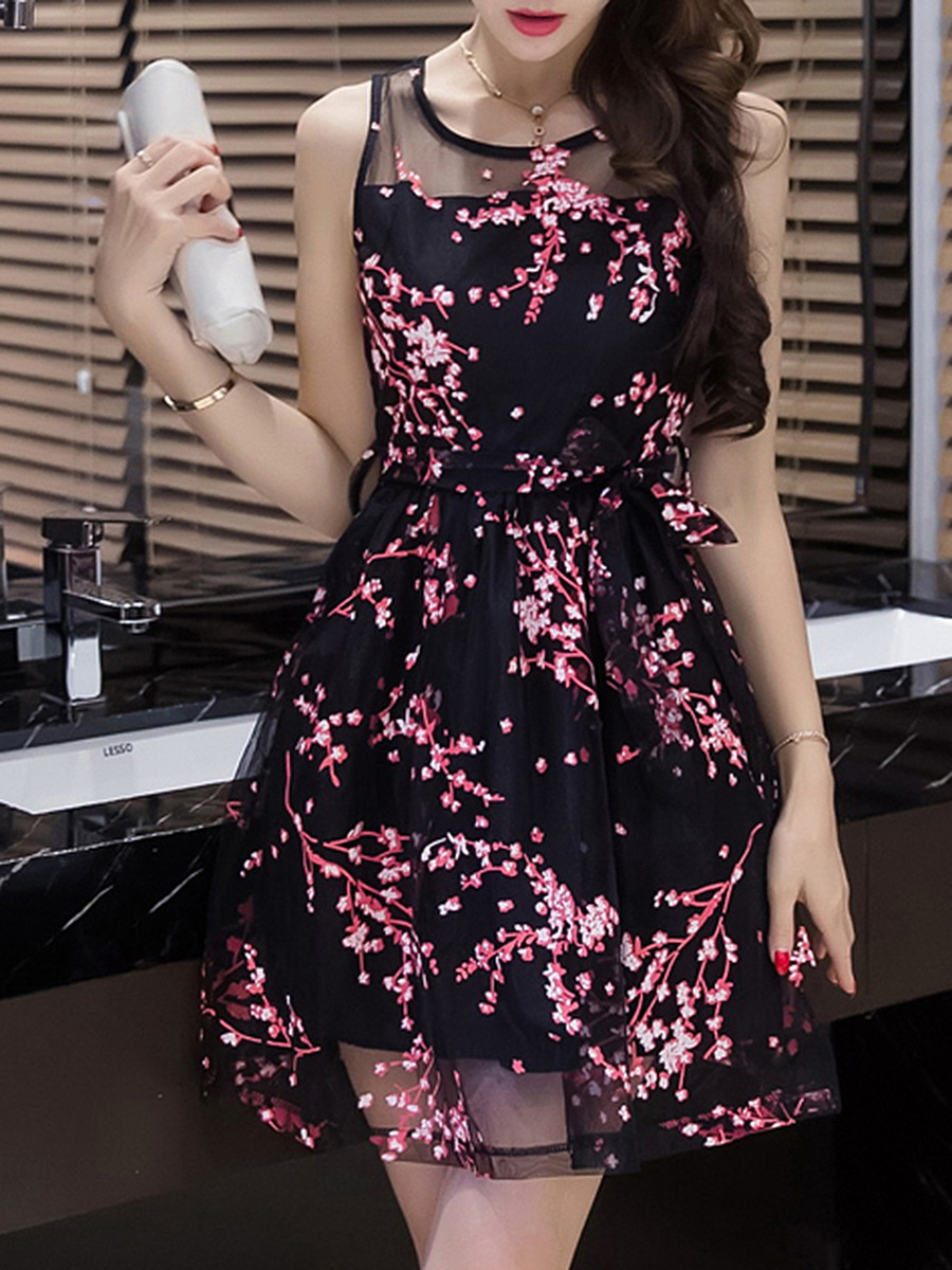 Round Neck Hollow Out Printed Skater Dress