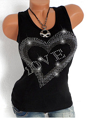 Round Neck  Beading  Letters Plain Sleeveless T-Shirts