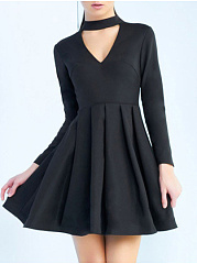 Round Neck  Ruched  Plain Skater Dress