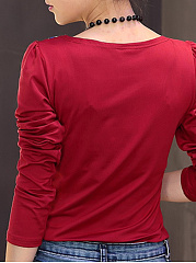 V Neck  Patchwork  Printed Long Sleeve T-Shirts