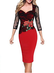 Sweet Heart See-Through Floral Bodycon Dress