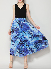 Bowknot Printed Pleated Maxi Skirt
