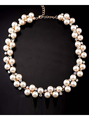 White Beads Rhinestone Necklace
