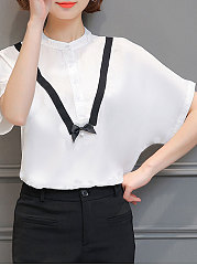 Summer  Polyester  Women  Round Neck  Decorative Button  Plain  Batwing Sleeve  Short Sleeve Blouses