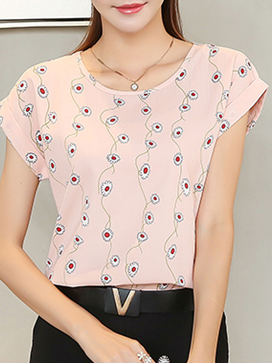 Summer  Chiffon  Women  Round Neck  Floral Printed  Extra Short Blouses