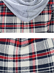 Autumn Spring  Cotton  Women  Hooded  Single Breasted  Plaid  Long Sleeve Blouses