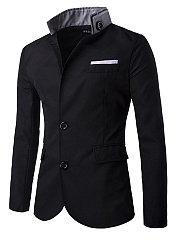 Band Collar Flap Pocket Single Breasted Men Coat
