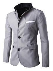 Band-Collar-Flap-Pocket-Single-Breasted-Men-Coat