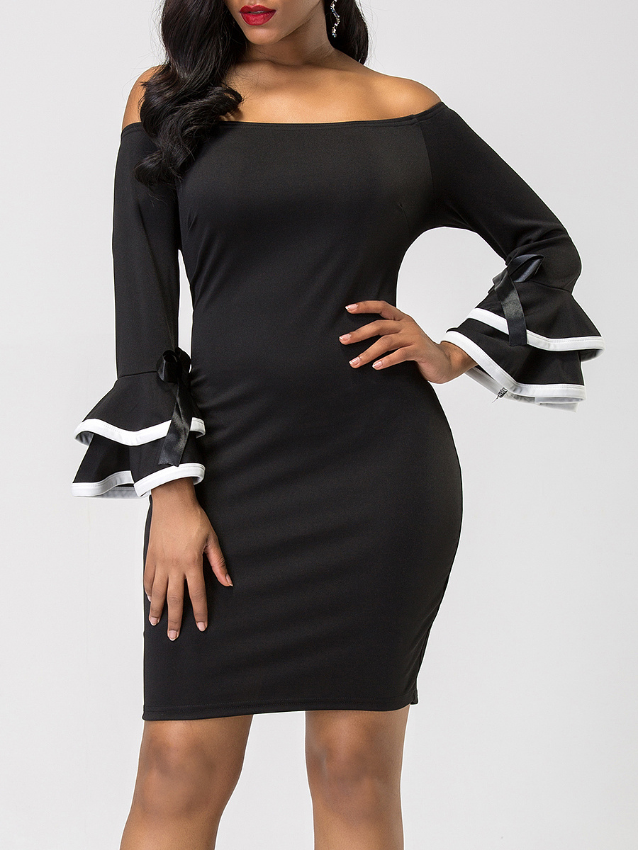 Off Shoulder Bowknot Contrast Trim Bell Sleeve Bodycon Dress