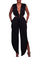 Deep V-Neck  Backless  Plain  Wide-Leg Jumpsuits