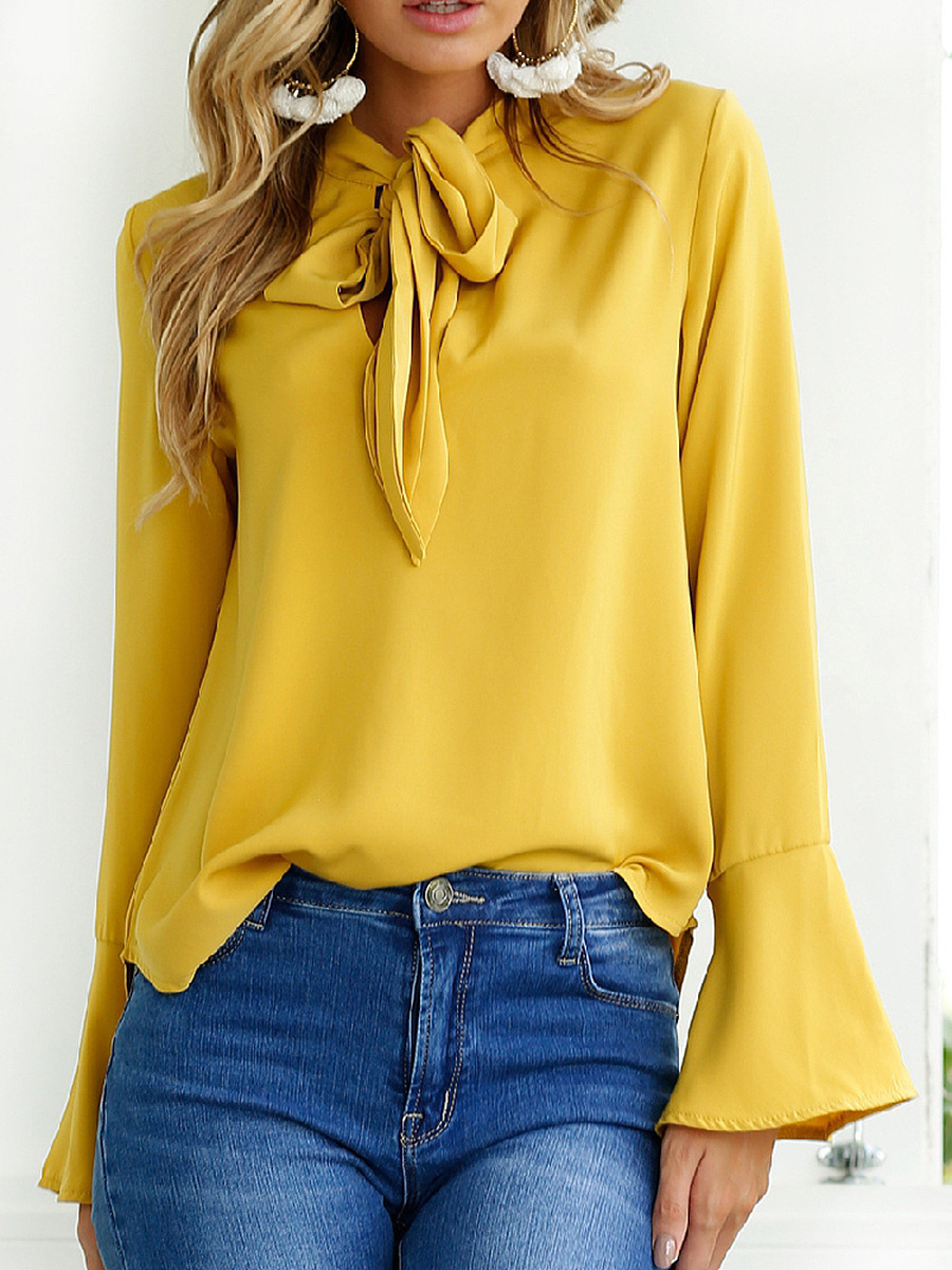 Autumn Spring  Chiffon  Women  Tie Collar  Bowknot  Plain  Bell Sleeve  Long Sleeve Blouses