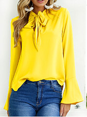 Autumn Spring Chiffon Women Tie Collar Bowknot Plain Bell Sleeve Long  Sleeve Blouses 7ee6a41c5