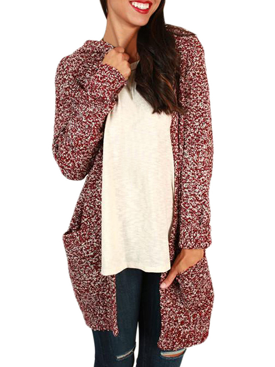 Casual Longline Hooded Patch Pocket Cardigan