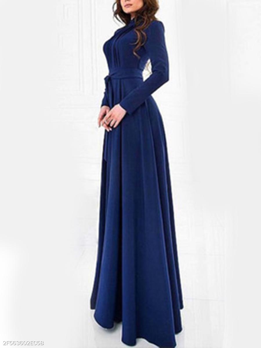 Band Collar  Belt  Plain Daily Maxi Dress