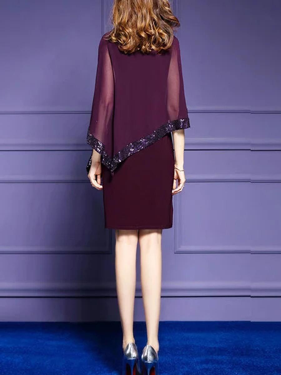 Open Shoulder Glitter Cape Sleeve Hollow Out Plain Bodycon Dress