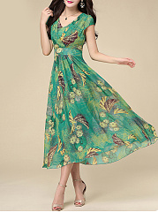 Fashion Spring Summer V-Neck  Printed Maxi Dress