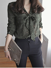 Tie Collar  Bowknot Patch Pocket Single Breasted  Hollow Out  Long Sleeve Blouses