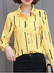 Autumn Spring  Polyester  Women  Fold-Over Collar  Single Breasted  Striped  Long Sleeve Blouses