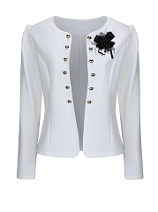 Collarless-Bowknot-Double-Breasted-Plain-Blazer