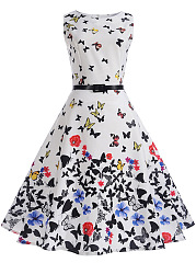Round Neck Allover Butterfly Floral Printed Belt Skater Dress