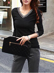 Autumn Spring  Polyester  Women  V-Neck  Plain Long Sleeve T-Shirts