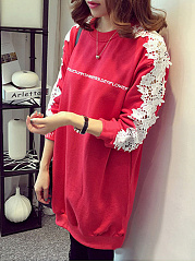 Round Neck Decorative Lace Hollow Out Sweatshirts