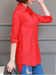 Turn Down Collar  Loose Fitting Patch Pocket  Plain Blouses