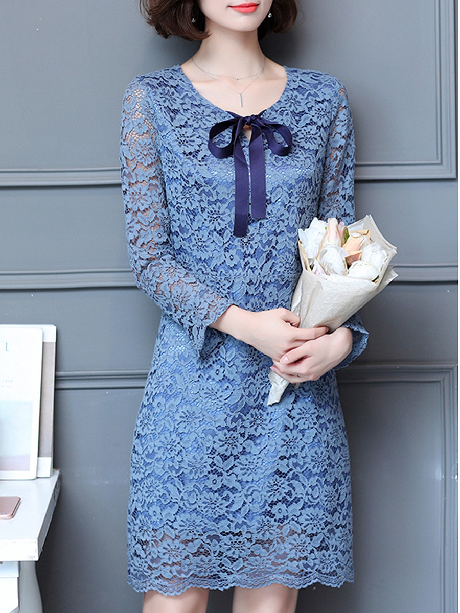 Tie Collar  Hollow Out  Lace Shift Dress