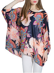 Summer  Polyester  Women  Round Neck  Asymmetric Hem  Floral Printed  Batwing Sleeve  Three-Quarter Sleeve Blouses
