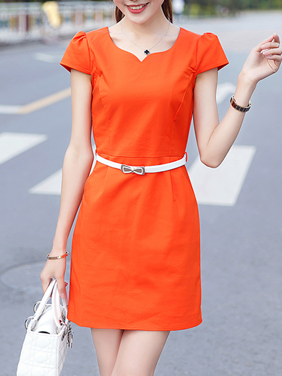 Sweet Heart Pocket Back Hole Belt Plain Mini Bodycon Dress