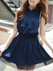 Turn Down Collar  Elastic Waist  Plain Skater Dress