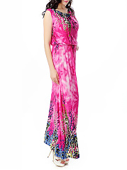 Asymmetric Neck  Elastic Waist  Printed Maxi Dress