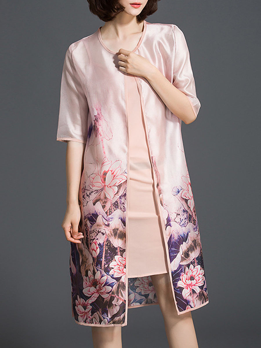 Floral Printed Half Sleeve Two-Piece Shift Dress