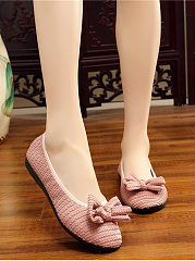 Solid Embossed Bow Ballerinas