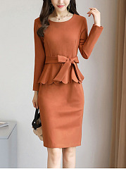 Women Peplum Solid-Color Belt Bodycon Dress