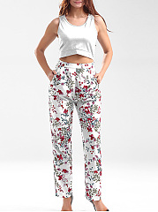 Hot Cutout Floral Printed Round Neck Pocket Straight Jumpsuit